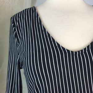 Polly & Esther Tops - Polly & Ester Striped Crop Top with Bell Sleeves